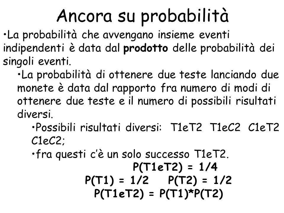 Ancora su probabilità La probabilità che avvengano insieme eventi indipendenti è data dal prodotto delle probabilità dei singoli eventi. La probabilit