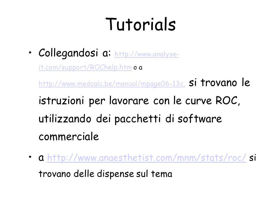 Tutorials Collegandosi a: http://www.analyse- it.com/support/ROChelp.htm o a http://www.medcalc.be/manual/mpage06-13c. si trovano le istruzioni per la