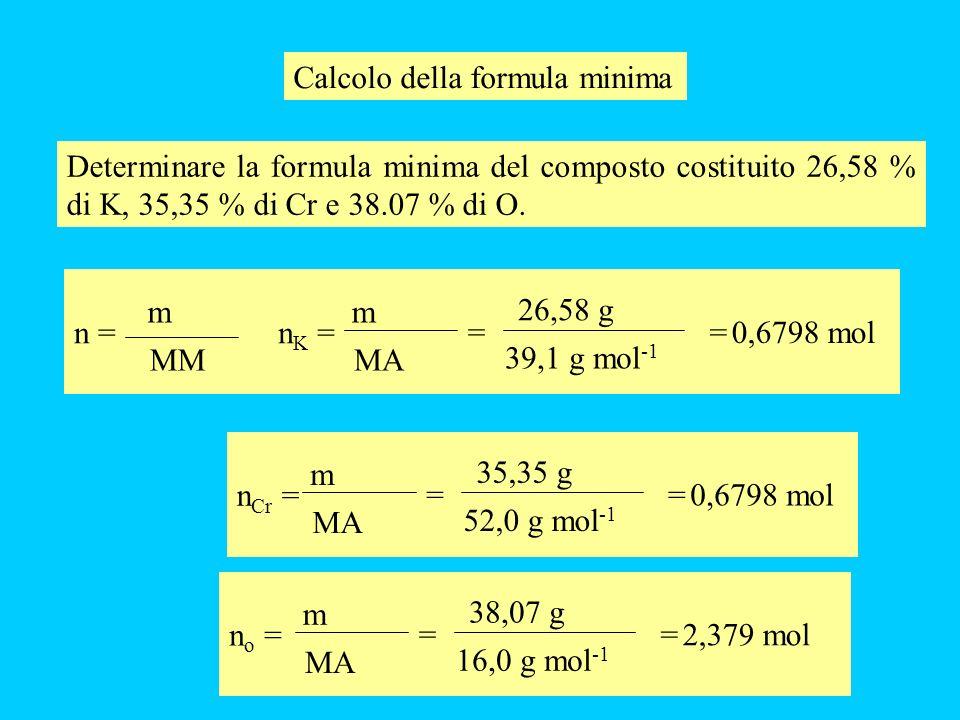 Calcolo della formula minima Determinare la formula minima del composto costituito 26,58 % di K, 35,35 % di Cr e 38.07 % di O. n = m MM nK =nK = m MA