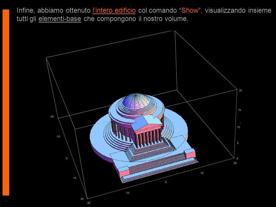 Infine, abbiamo ottenuto lintero edificio col comando Show, visualizzando insieme tutti gli elementi-base che compongono il nostro volume.