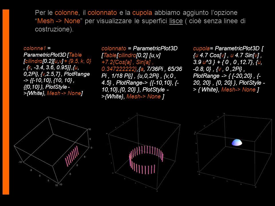 Per le colonne, il colonnato e la cupola abbiamo aggiunto lopzioneMesh -> None per visualizzare le superfici lisce ( cioè senza linee di costruzione).