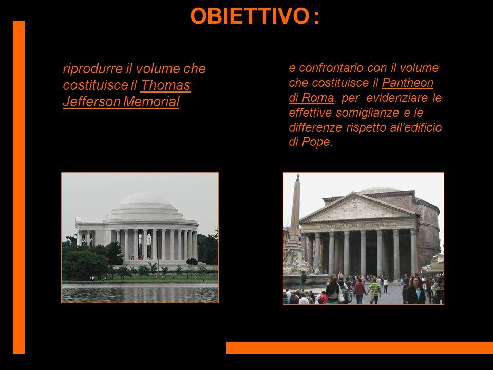 OBIETTIVO : riprodurre il volume che costituisce il Thomas Jefferson Memorial e confrontarlo con il volume che costituisce il Pantheon di Roma, per ev