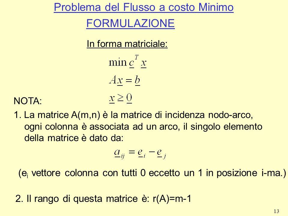 13 Problema del Flusso a costo Minimo FORMULAZIONE In forma matriciale: NOTA: 1. La matrice A(m,n) è la matrice di incidenza nodo-arco, ogni colonna è