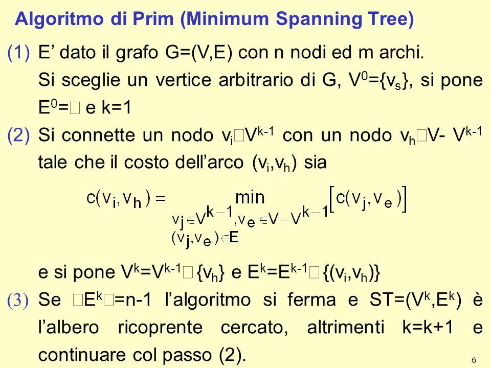 6 Algoritmo di Prim (Minimum Spanning Tree) (1)E dato il grafo G=(V,E) con n nodi ed m archi.