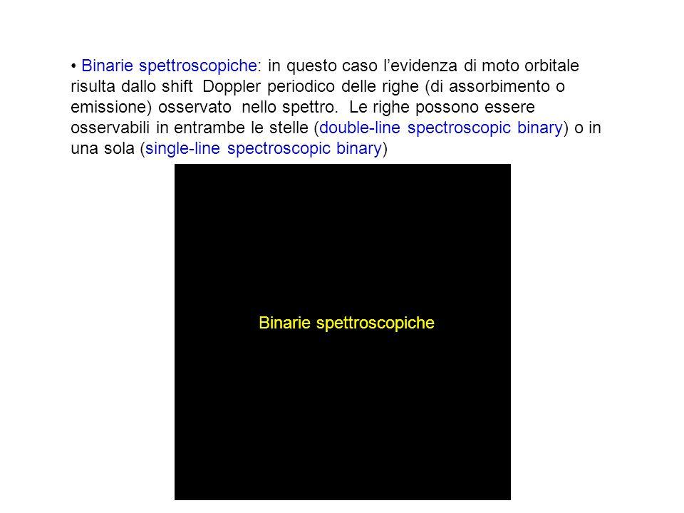 Binarie spettroscopiche: in questo caso levidenza di moto orbitale risulta dallo shift Doppler periodico delle righe (di assorbimento o emissione) oss