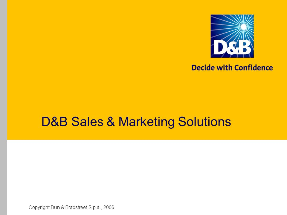 Copyright Dun & Bradstreet S.p.a., 2006 D&B Sales & Marketing Solutions