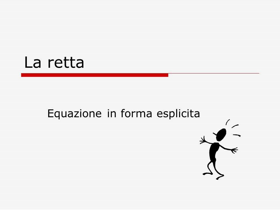 La retta Equazione in forma esplicita