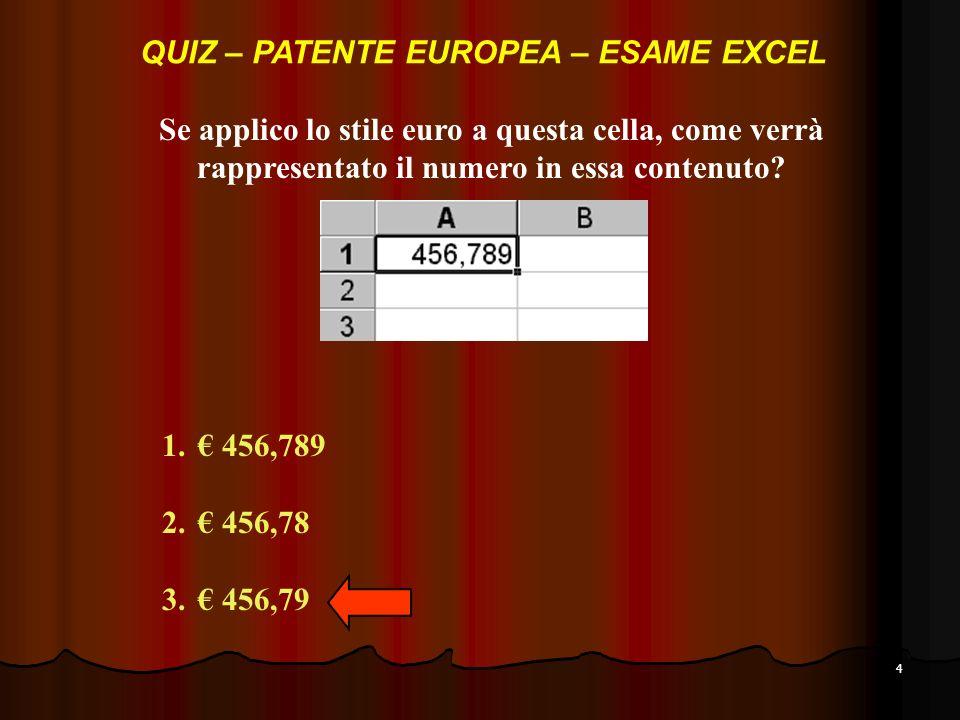 4 Se applico lo stile euro a questa cella, come verrà rappresentato il numero in essa contenuto.