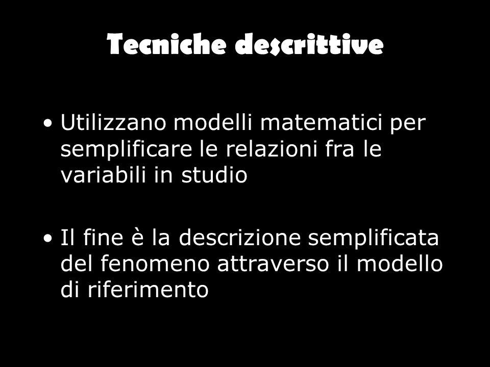 Tecniche descrittive Utilizzano modelli matematici per semplificare le relazioni fra le variabili in studio Il fine è la descrizione semplificata del