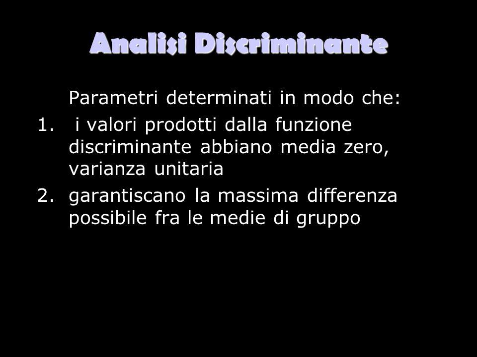 Analisi Discriminante Parametri determinati in modo che: 1. i valori prodotti dalla funzione discriminante abbiano media zero, varianza unitaria 2.gar