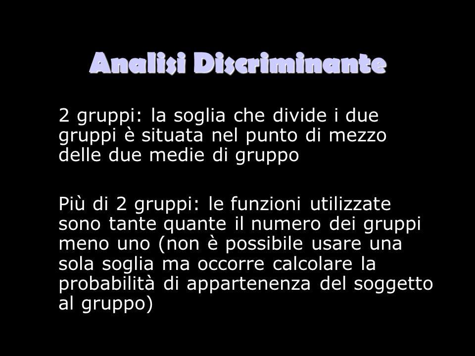 Analisi Discriminante 2 gruppi: la soglia che divide i due gruppi è situata nel punto di mezzo delle due medie di gruppo Più di 2 gruppi: le funzioni