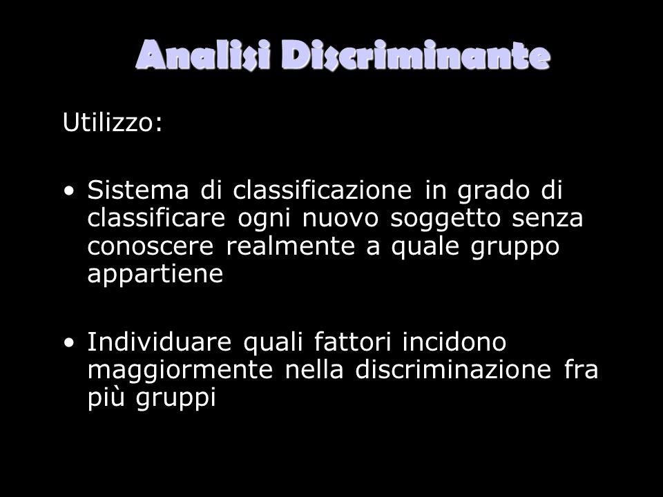 Analisi Discriminante Utilizzo: Sistema di classificazione in grado di classificare ogni nuovo soggetto senza conoscere realmente a quale gruppo appar