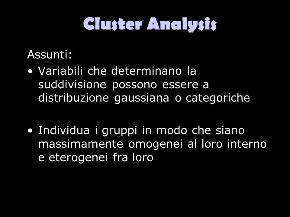 Cluster Analysis Assunti: Variabili che determinano la suddivisione possono essere a distribuzione gaussiana o categoriche Individua i gruppi in modo