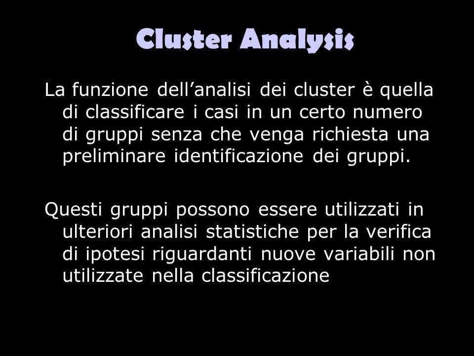 Cluster Analysis La funzione dellanalisi dei cluster è quella di classificare i casi in un certo numero di gruppi senza che venga richiesta una prelim