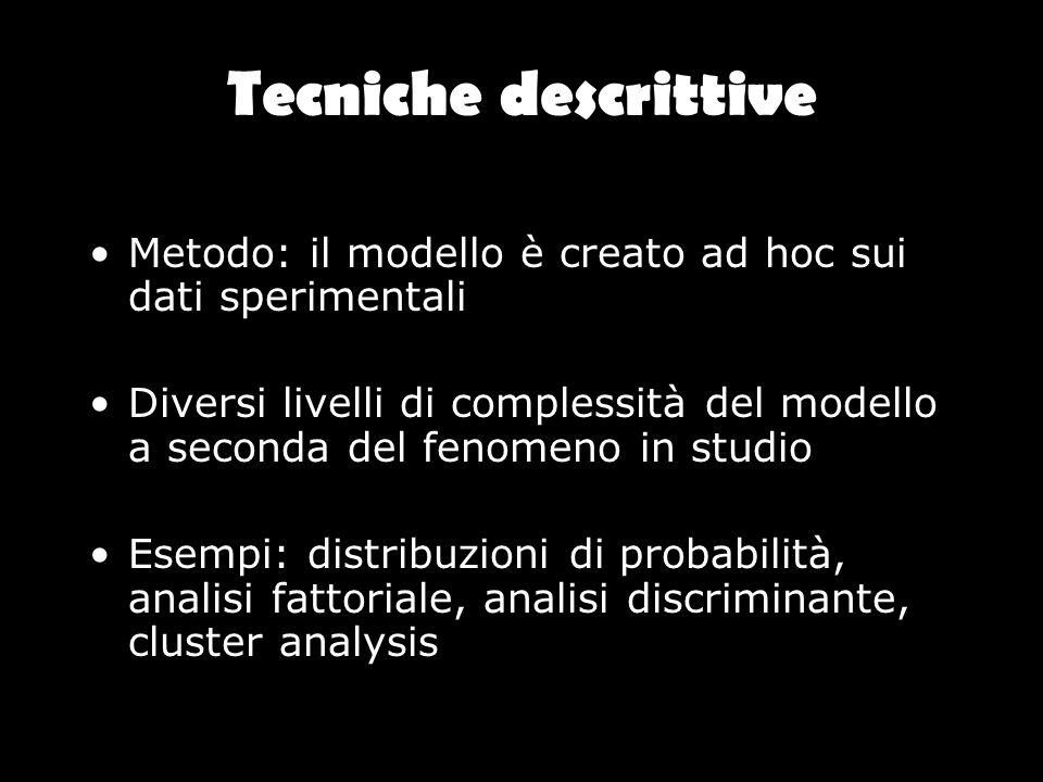 Tecniche descrittive Metodo: il modello è creato ad hoc sui dati sperimentali Diversi livelli di complessità del modello a seconda del fenomeno in stu
