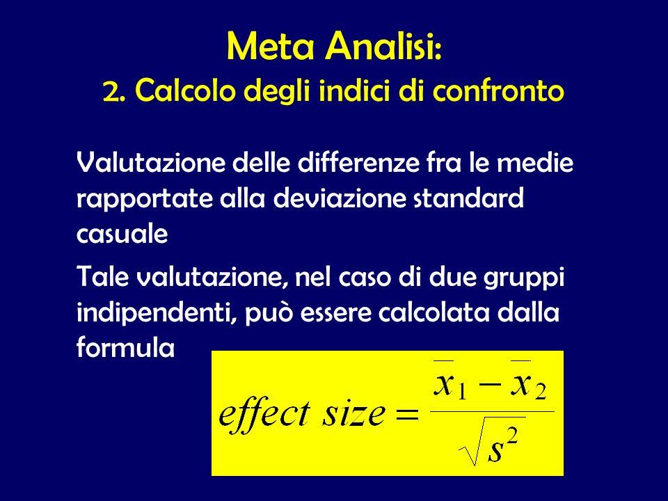 Valutazione delle differenze fra le medie rapportate alla deviazione standard casuale Tale valutazione, nel caso di due gruppi indipendenti, può esser