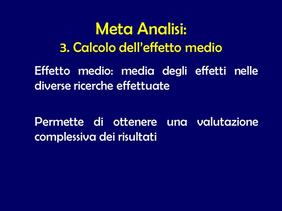 Effetto medio: media degli effetti nelle diverse ricerche effettuate Permette di ottenere una valutazione complessiva dei risultati Meta Analisi: 3. C