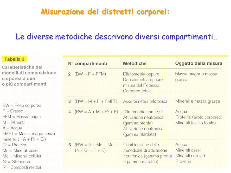 Misurazione dei distretti corporei: Le diverse metodiche descrivono diversi compartimenti..