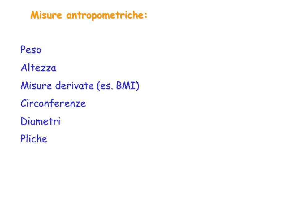 Misure antropometriche: PesoAltezza Misure derivate (es. BMI) CirconferenzeDiametriPliche