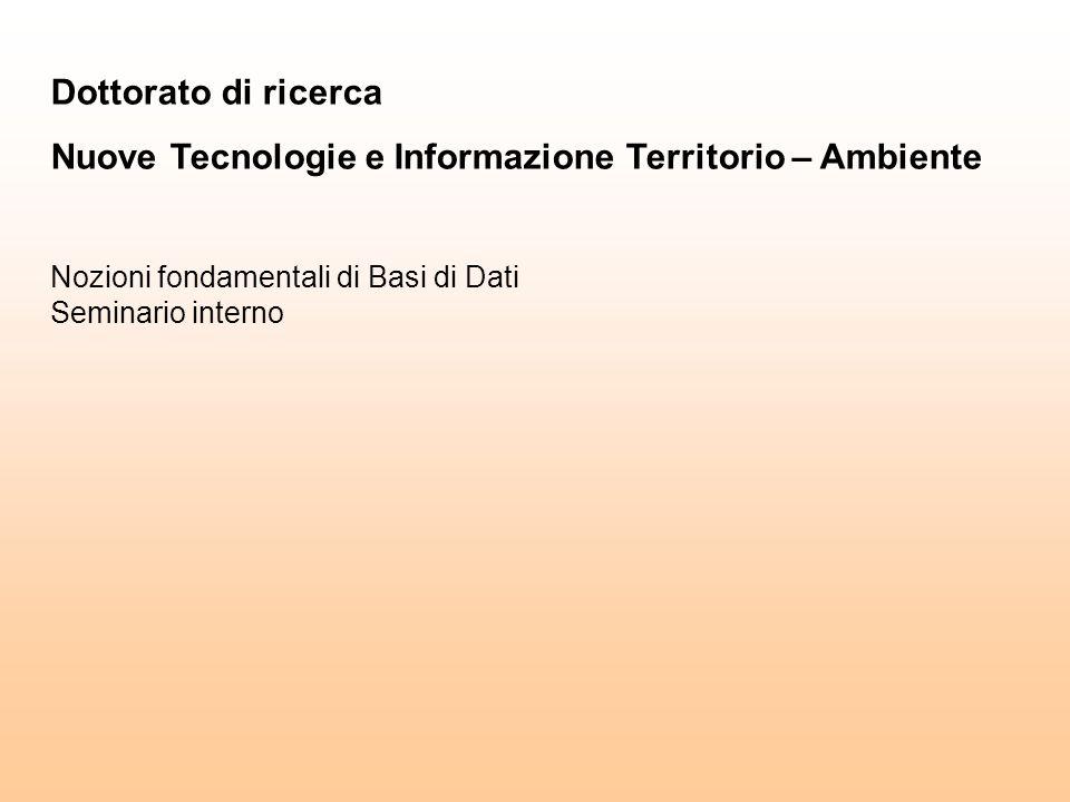 Dottorato di ricerca Nuove Tecnologie e Informazione Territorio – Ambiente Nozioni fondamentali di Basi di Dati Seminario interno
