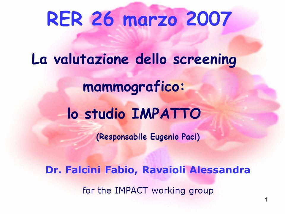 1 La valutazione dello screening mammografico: lo studio IMPATTO (Responsabile Eugenio Paci) Dr. Falcini Fabio, Ravaioli Alessandra for the IMPACT wor