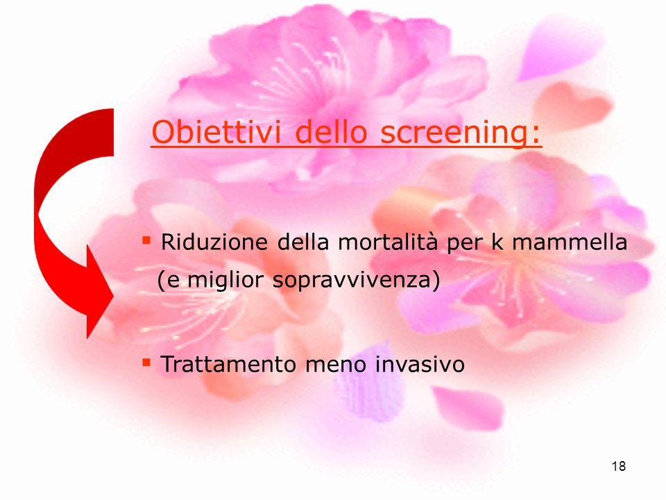 18 Obiettivi dello screening: Riduzione della mortalità per k mammella (e miglior sopravvivenza) Trattamento meno invasivo