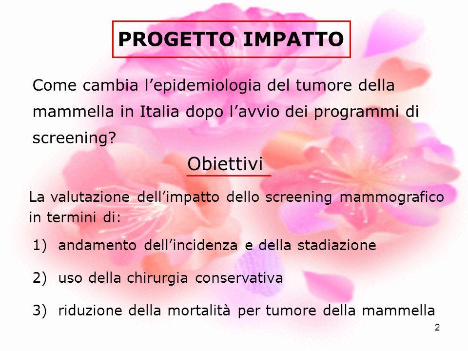 2 PROGETTO IMPATTO La valutazione dellimpatto dello screening mammografico in termini di: 1) andamento dellincidenza e della stadiazione 2) uso della