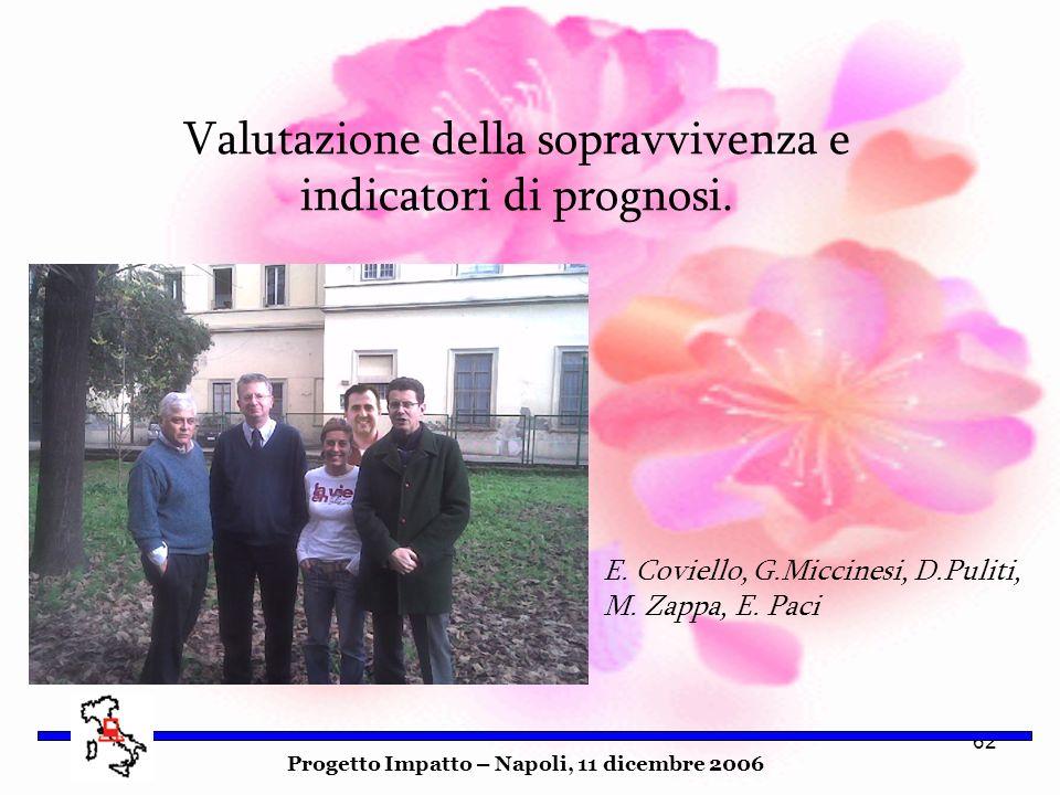62 Progetto Impatto – Napoli, 11 dicembre 2006 Valutazione della sopravvivenza e indicatori di prognosi. E. Coviello, G.Miccinesi, D.Puliti, M. Zappa,