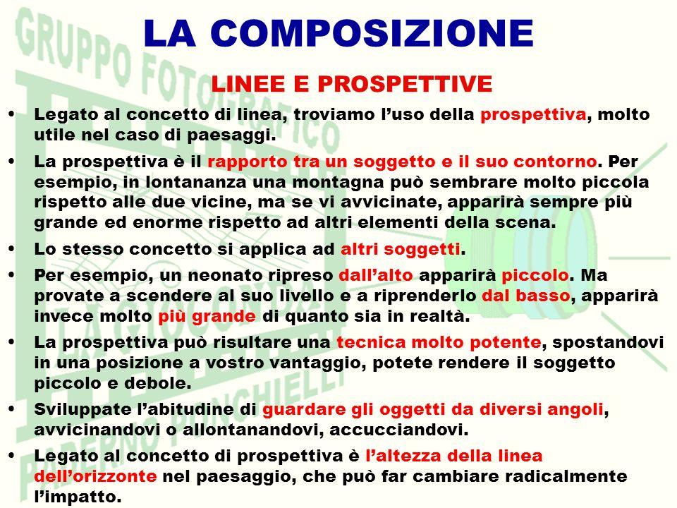 LA COMPOSIZIONE LINEE E PROSPETTIVE Legato al concetto di linea, troviamo luso della prospettiva, molto utile nel caso di paesaggi.