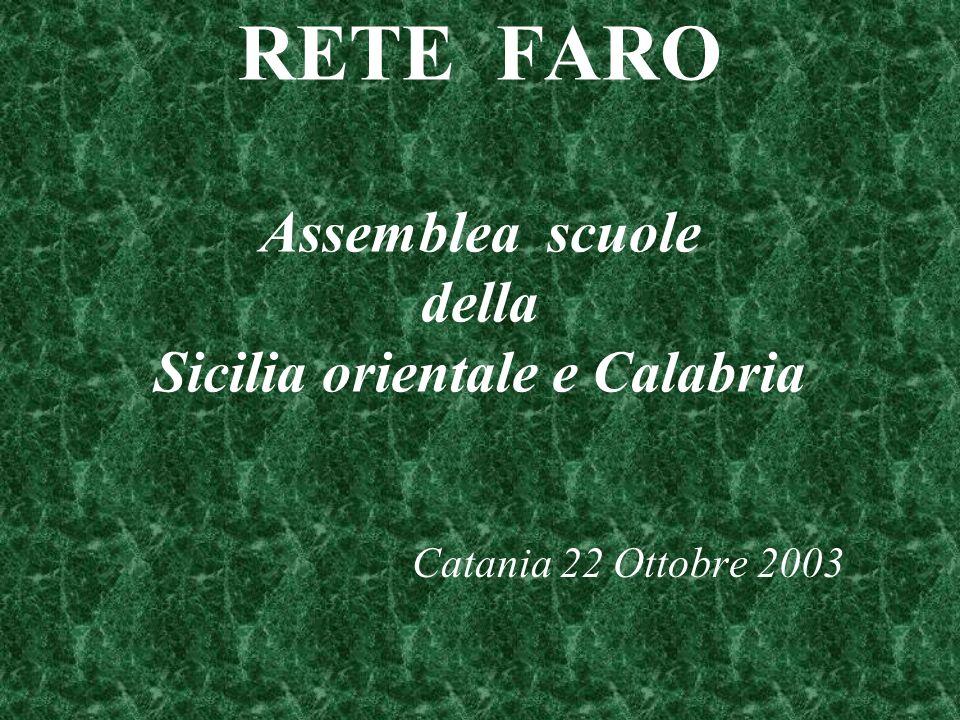 RETE FARO Assemblea scuole della Sicilia orientale e Calabria Catania 22 Ottobre 2003