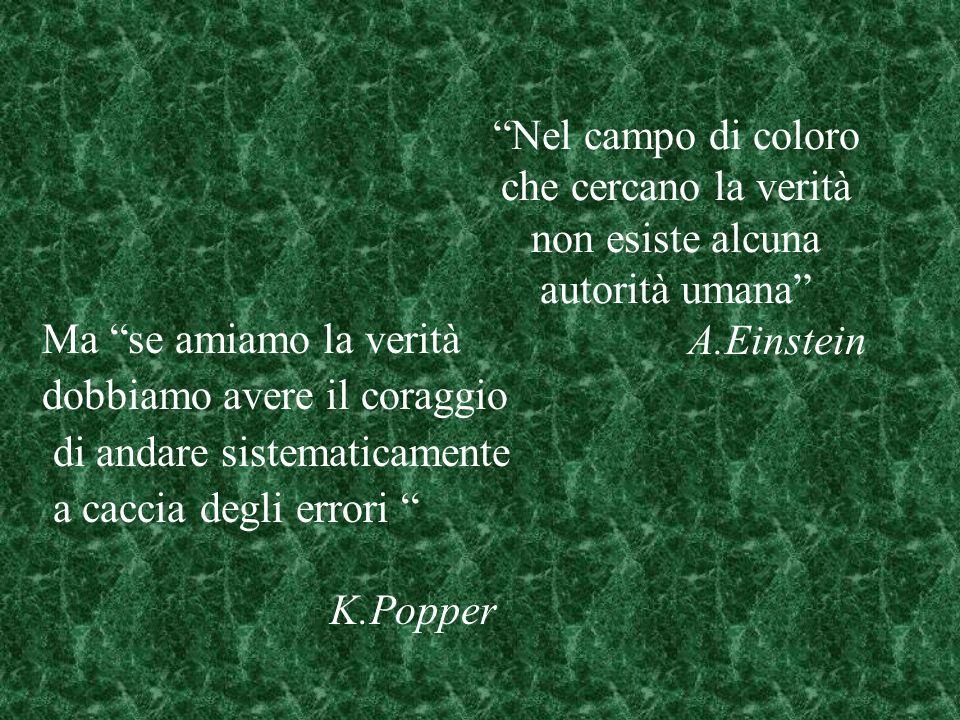 Nel campo di coloro che cercano la verità non esiste alcuna autorità umana A.Einstein Ma se amiamo la verità dobbiamo avere il coraggio di andare sistematicamente a caccia degli errori K.Popper