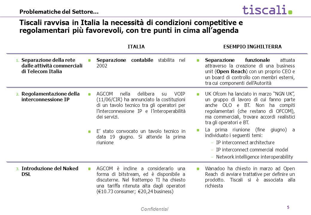 Confidential 5 Problematiche del Settore… Tiscali ravvisa in Italia la necessità di condizioni competitive e regolamentari più favorevoli, con tre punti in cima allagenda ITALIA ESEMPIO INGHILTERRA UK Ofcom ha lanciato in marzo NGN UK, un gruppo di lavoro di cui fanno parte anche OLO e BT.