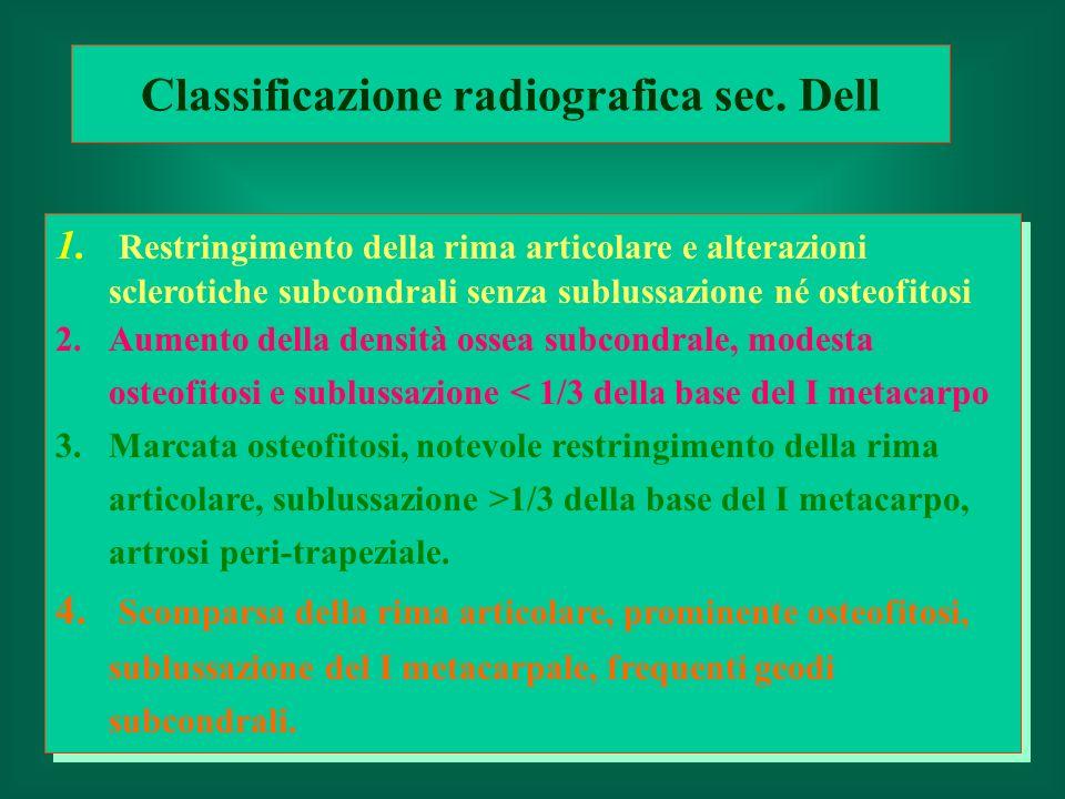 1. Restringimento della rima articolare e alterazioni sclerotiche subcondrali senza sublussazione né osteofitosi 2.Aumento della densità ossea subcond