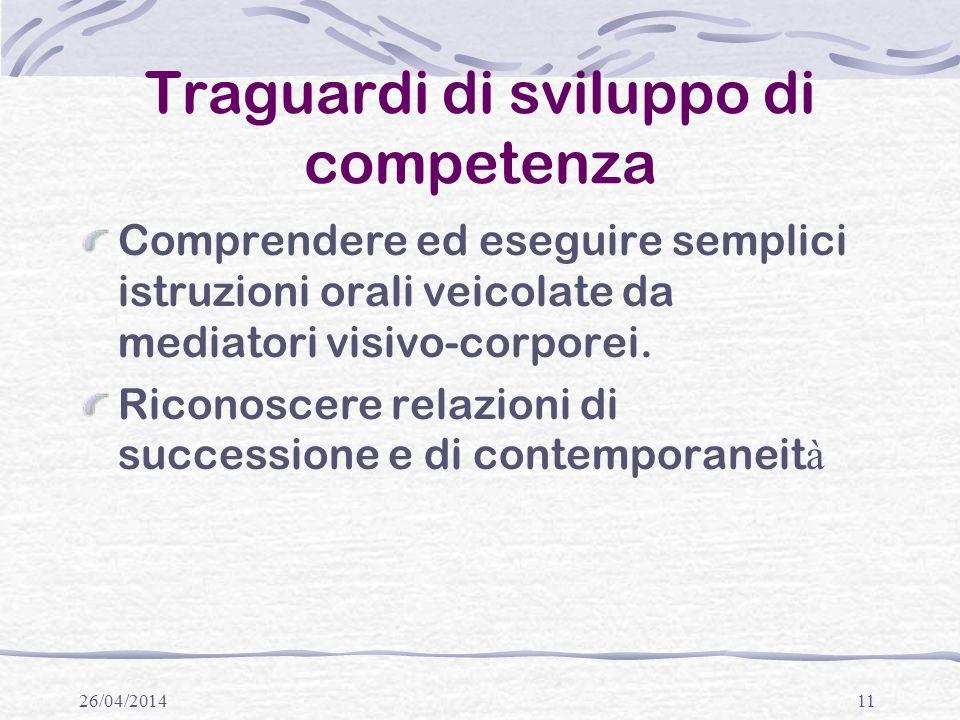 26/04/201411 Traguardi di sviluppo di competenza Comprendere ed eseguire semplici istruzioni orali veicolate da mediatori visivo-corporei.