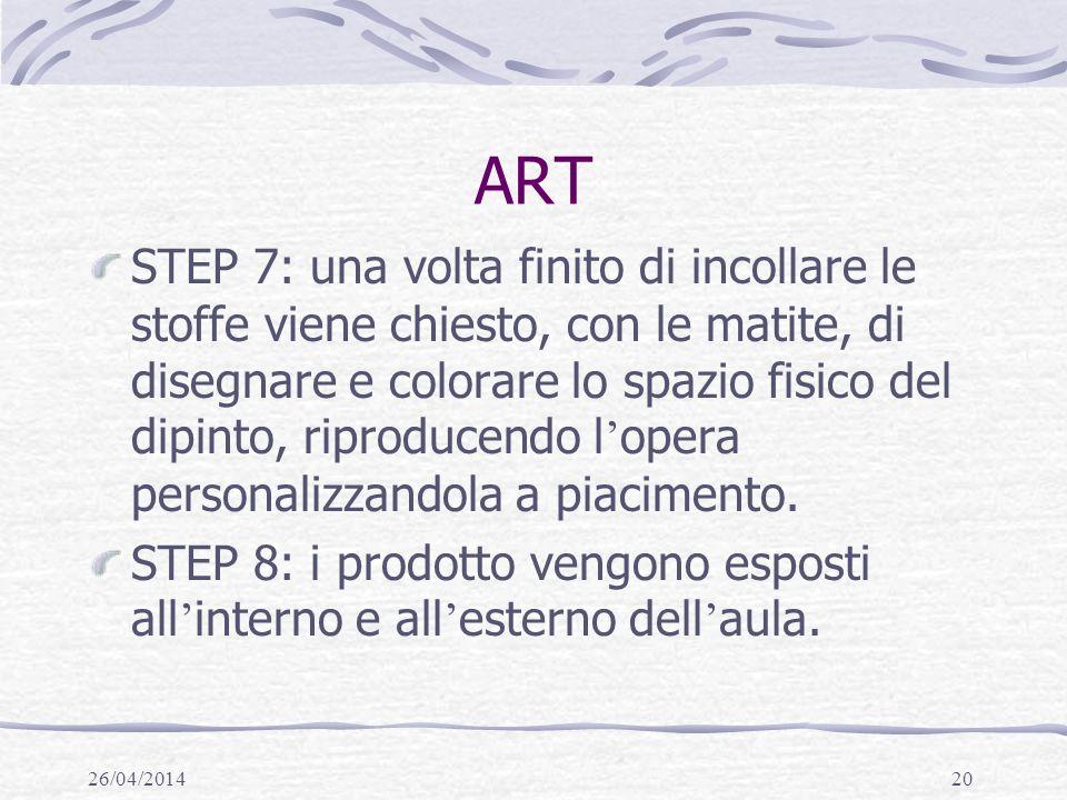 26/04/201420 ART STEP 7: una volta finito di incollare le stoffe viene chiesto, con le matite, di disegnare e colorare lo spazio fisico del dipinto, riproducendo l opera personalizzandola a piacimento.