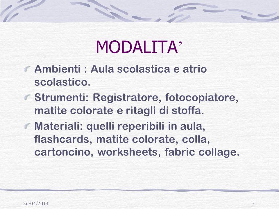 26/04/20147 MODALITA Ambienti : Aula scolastica e atrio scolastico.