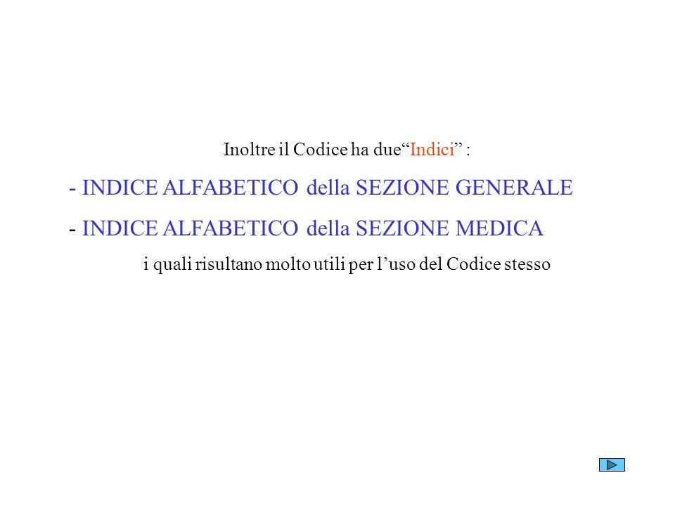 Inoltre il Codice ha dueIndici : - INDICE ALFABETICO della SEZIONE GENERALE - INDICE ALFABETICO della SEZIONE MEDICA i quali risultano molto utili per
