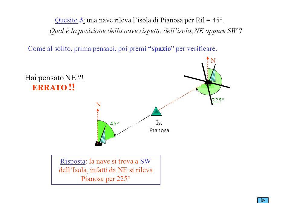 Quesito 3: una nave rileva lisola di Pianosa per Ril = 45°. Qual è la posizione della nave rispetto dellisola, NE oppure SW ? Come al solito, prima pe