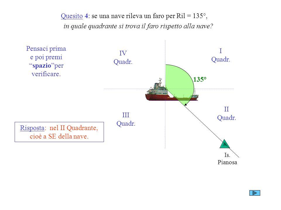 Quesito 4: se una nave rileva un faro per Ril = 135°, in quale quadrante si trova il faro rispetto alla nave? Is. Pianosa I Quadr. II Quadr. III Quadr