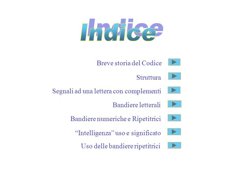Breve storia del Codice Struttura Segnali ad una lettera con complementi Bandiere letterali Bandiere numeriche e Ripetitrici Intelligenza uso e signif