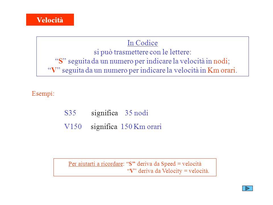 Velocità In Codice si può trasmettere con le lettere: S seguita da un numero per indicare la velocità in nodi; V seguita da un numero per indicare la