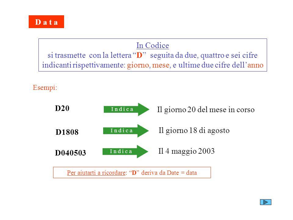 D a t a In Codice si trasmette con la lettera D seguita da due, quattro e sei cifre indicanti rispettivamente: giorno, mese, e ultime due cifre dellan