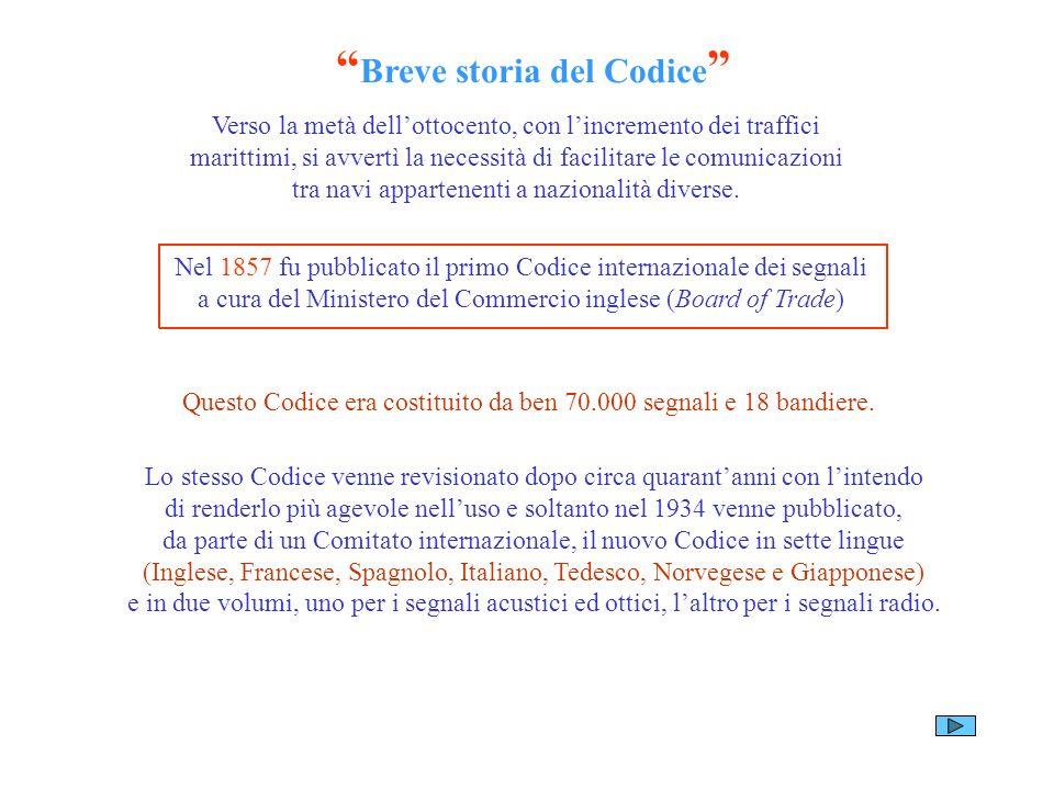 Breve storia del Codice Verso la metà dellottocento, con lincremento dei traffici marittimi, si avvertì la necessità di facilitare le comunicazioni tr