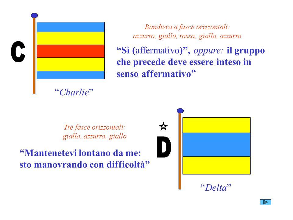 Charlie Bandiera a fasce orizzontali: azzurro, giallo, rosso, giallo, azzurro Sì (affermativo), oppure: il gruppo che precede deve essere inteso in se