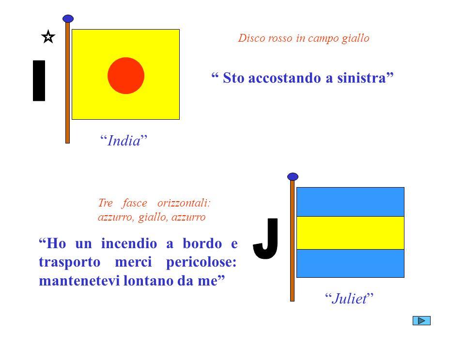 India Disco rosso in campo giallo Sto accostando a sinistra Juliet Tre fasce orizzontali: azzurro, giallo, azzurro Ho un incendio a bordo e trasporto
