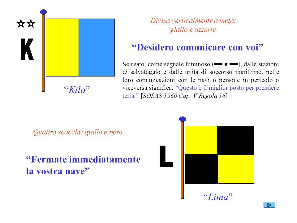 Kilo Divisa verticalmente a metà: giallo e azzurro Desidero comunicare con voi Lima Quattro scacchi: giallo e nero Fermate immediatamente la vostra na