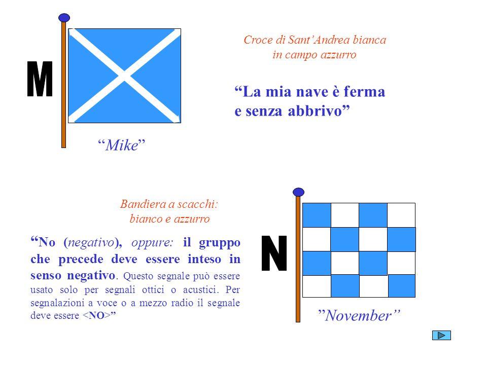 Mike Croce di SantAndrea bianca in campo azzurro La mia nave è ferma e senza abbrivo November Bandiera a scacchi: bianco e azzurro No (negativo), oppu
