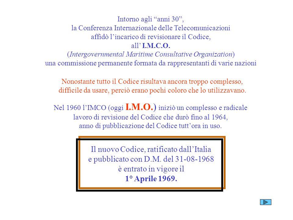 Intorno agli anni 30, la Conferenza Internazionale delle Telecomunicazioni affidò lincarico di revisionare il Codice, all I.M.C.O. (Intergovernmental