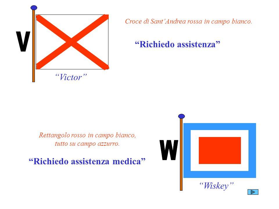 Victor Richiedo assistenza Croce di SantAndrea rossa in campo bianco. Wiskey Rettangolo rosso in campo bianco, tutto su campo azzurro. Richiedo assist