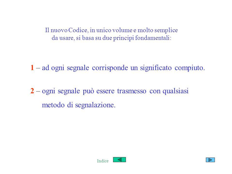 Il nuovo Codice, in unico volume e molto semplice da usare, si basa su due principi fondamentali: 1 – ad ogni segnale corrisponde un significato compi